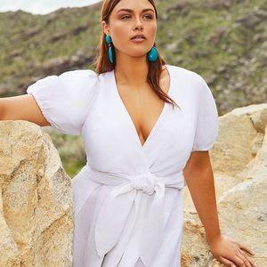 Eloquii Plus Size Tie Front Linen Fit&Flare Dress